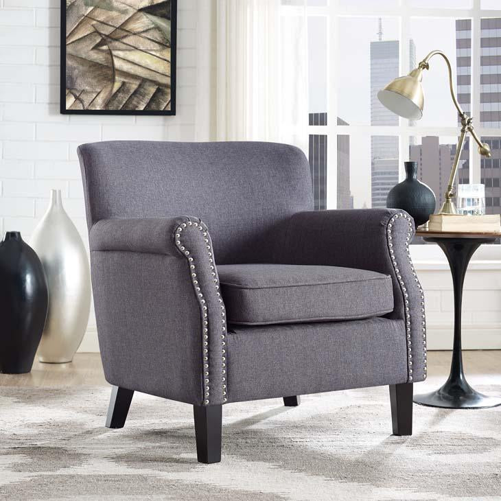 Province Vintage Full Fabric Armchair in Gray