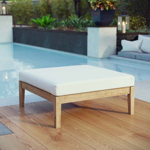 Bayport Outdoor Patio Teak Ottoman - taylor ray decor