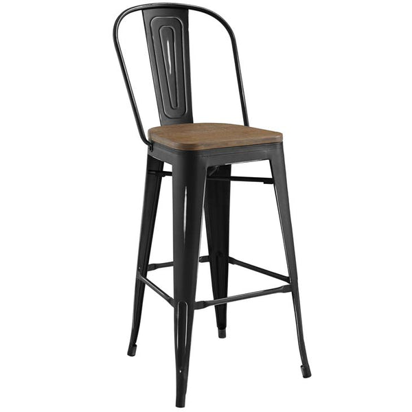 Promenade Metal Bar Stool with Bamboo Seat in Black