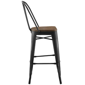 Promenade Metal Bar Stool with Bamboo Seat