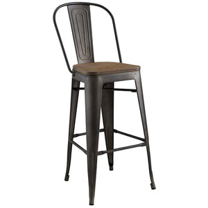 Promenade Metal Bar Stool with Bamboo Seat in Brown
