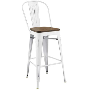 Promenade Metal Bar Stool with Bamboo Seat in White