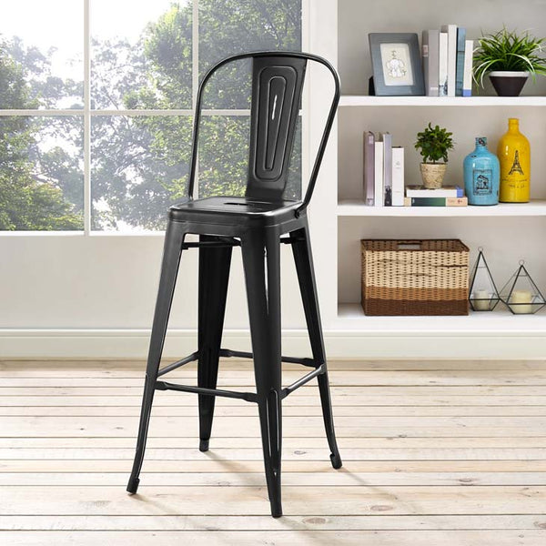 Promenade Metal Bar Side Stool in Black