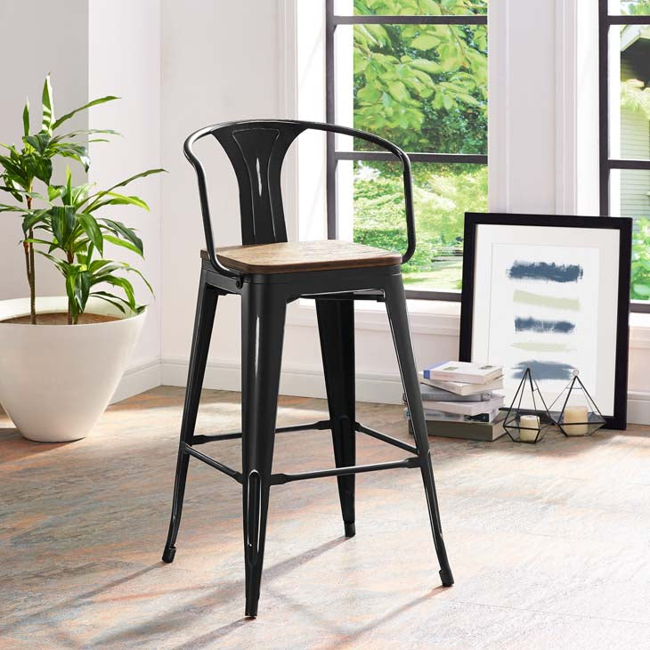 Promenade Bar Stool with Bamboo Seat in Black
