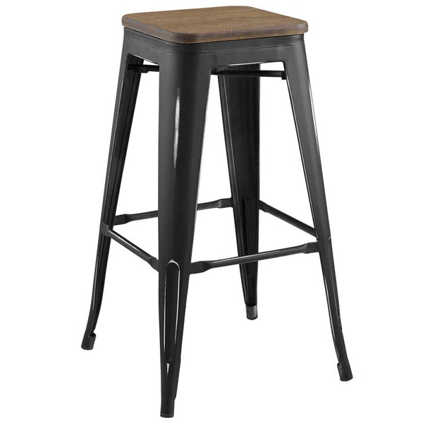 Promenade Backless Bar Stool with Bamboo Seat in Black