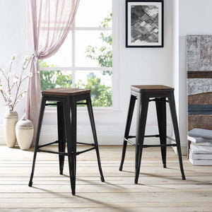 Promenade Backless Bar Stool with Bamboo Seat
