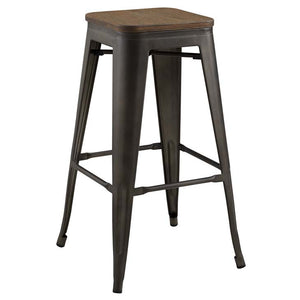 Promenade Backless Bar Stool with Bamboo Seat in Brown