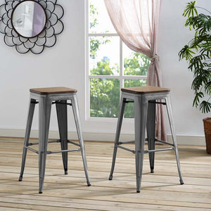 Promenade Backless Bar Stool with Bamboo Seat in Gunmetal