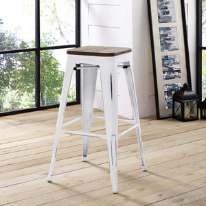 Promenade Backless Bar Stool with Bamboo Seat in White