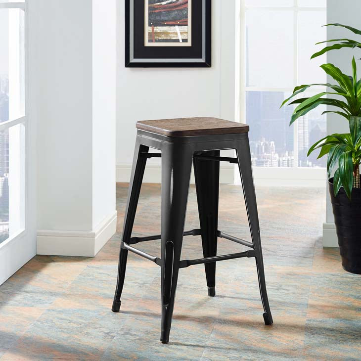 Promenade Backless Counter Stool with Bamboo Seat in Black