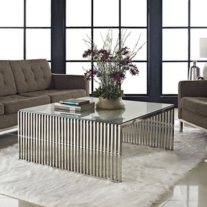 Gridiron Stainless Steel Coffee Table - taylor ray decor