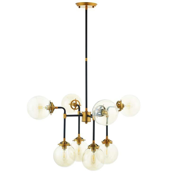 AMBITION AMBER GLASS AND ANTIQUE BRASS 8 LIGHT PENDANT / CHANDELIER