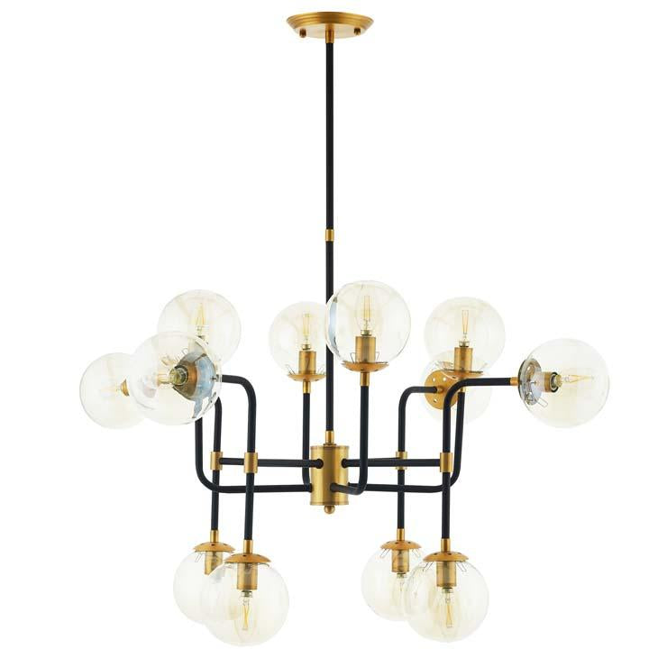 AMBITION AMBER GLASS AND ANTIQUE BRASS 12 LIGHT PENDANT / CHANDELIER