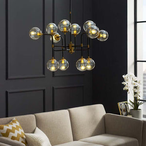 Ambition Amber Glass And Antique Brass 12 Light Pendant / Chandelier - taylor ray decor