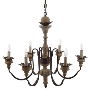 Bountiful Vintage French Pendant Ceiling Light & Candelabra / Chandelier