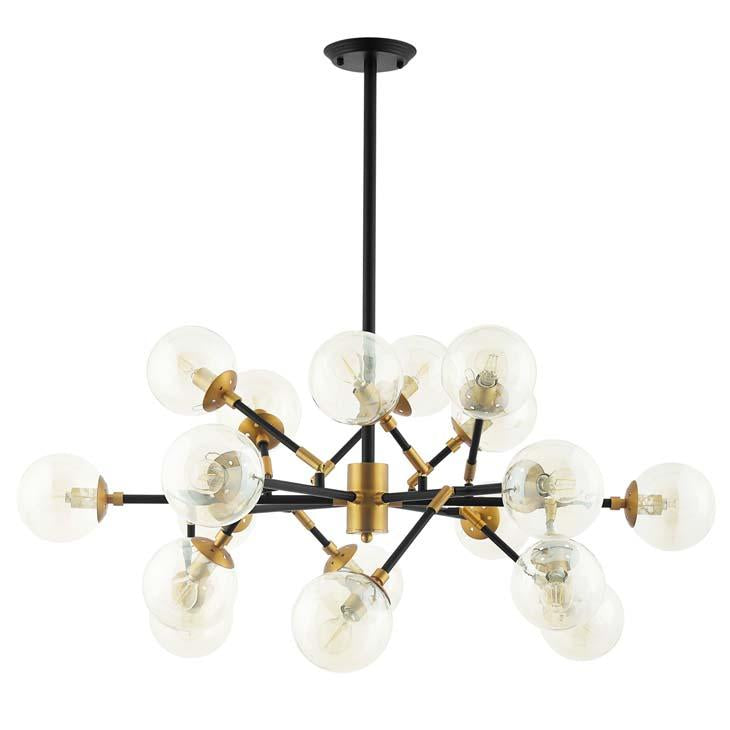 Sparkle Amber Glass & Antique Brass 18 Light Mid-Century Pendant / Chandelier - taylor ray decor