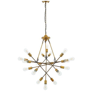 Request Antique Brass 18 Light Mid-Century Pendant / Chandelier - taylor ray decor