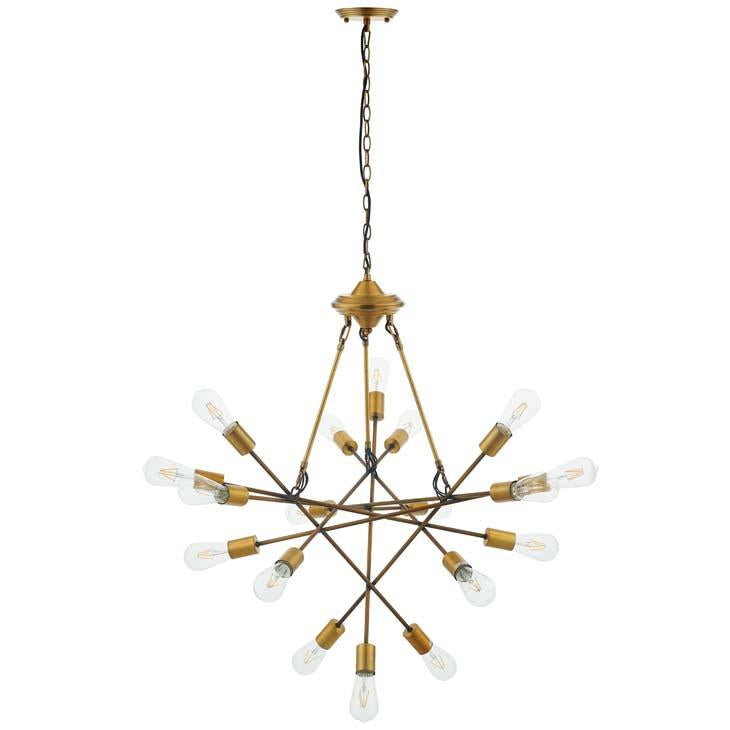REQUEST ANTIQUE BRASS 18 LIGHT MID-CENTURY PENDANT / CHANDELIER