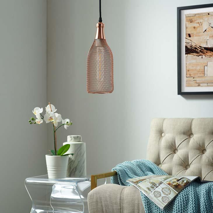Gimmer Bottle-Shaped Rose Gold Pendant Light - taylor ray decor