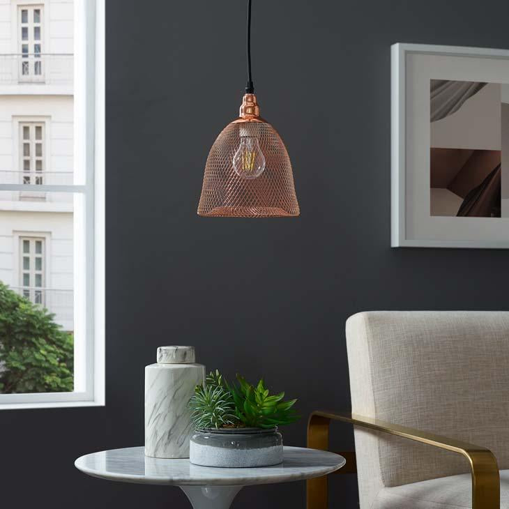 Glimmer Bell-Shaped Rose Gold Pendant Light - taylor ray decor