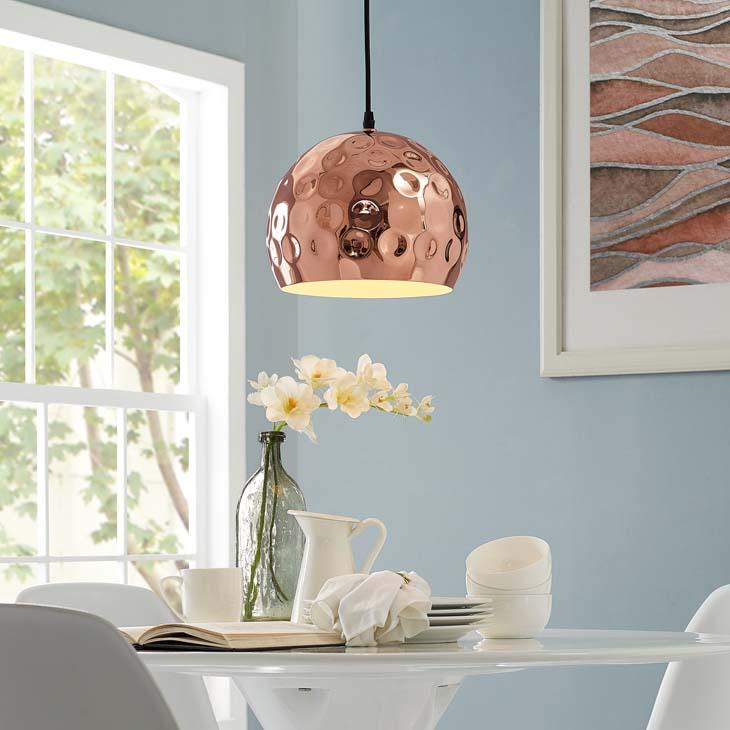 "Dimple 10"" Half-Sphere Rose Gold Pendant Light - taylor ray decor"
