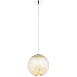 "FAIRY 8"" AMBER GLASS GLOBE CEILING LIGHT PENDANT"