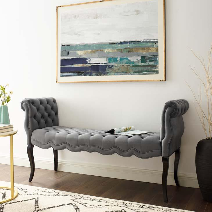 Adelia Chesterfield Style Button Tufted Velvet Bench in Gray