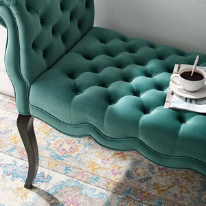 Adelia Chesterfield Style Button Tufted Velvet Bench