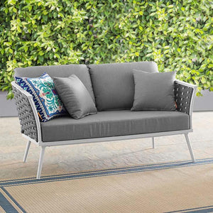 Stance Outdoor Patio Loveseat In White Gray