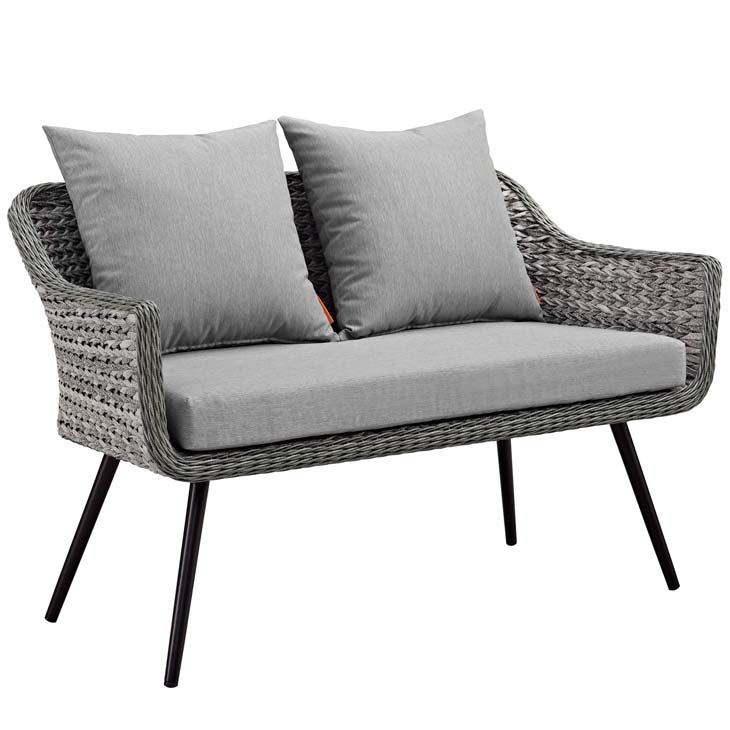 Endeavor Outdoor Patio Wicker Rattan Loveseat in Gray