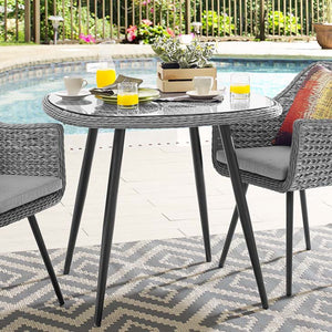 Endeavor Outdoor Patio Wicker Rattan Dining Table - taylor ray decor