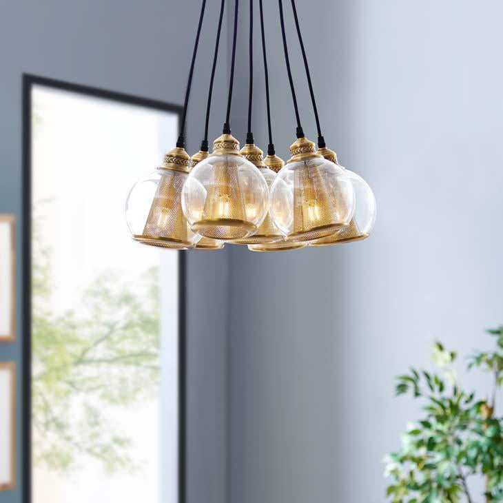 PEAK BRASS CONE AND GLASS GLOBE CLUSTER PENDANT
