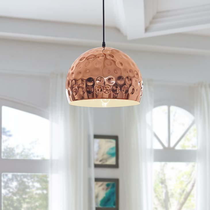"Dimple 13.5"" Half-Sphere Rose Gold Pendant Light - taylor ray decor"