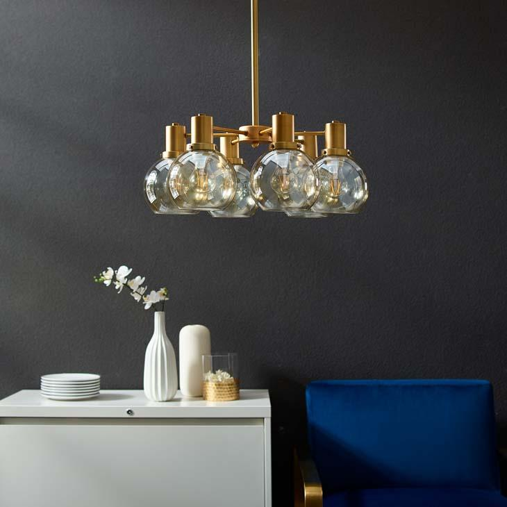 Resound Amber Glass & Brass Pendant / Chandelier - taylor ray decor