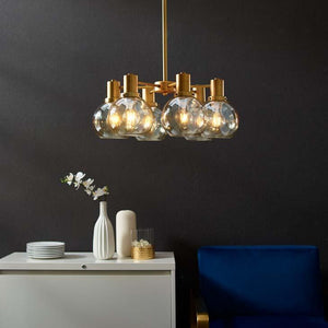 Resound Amber Glass & Brass Pendant / Chandelier