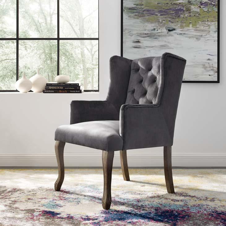 Realm French Vintage Velvet Dining Armchair - taylor ray decor