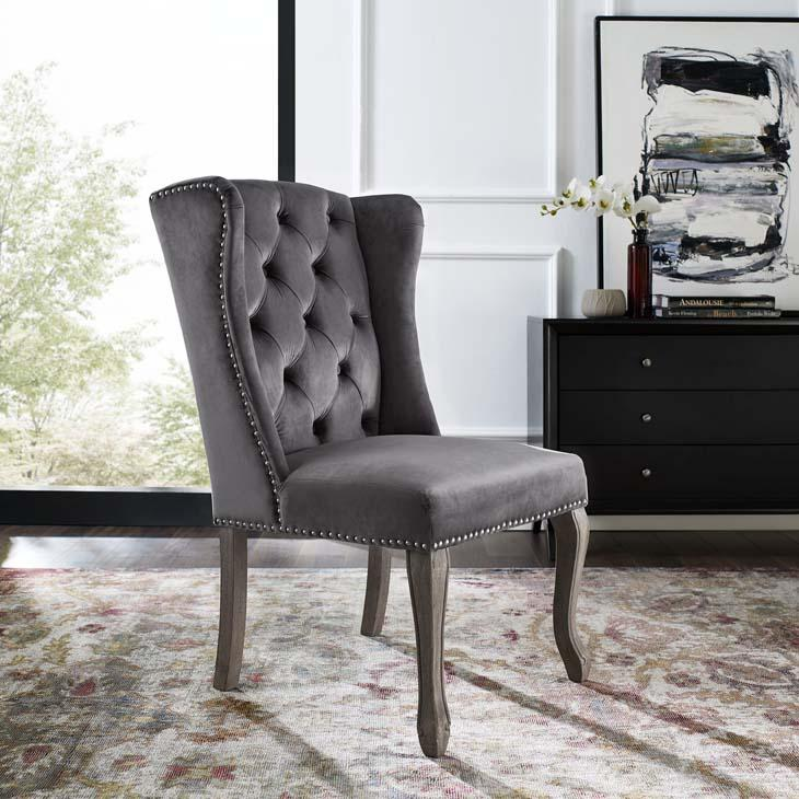 Aprise French Vintage Velvet Dining Chair in Gray