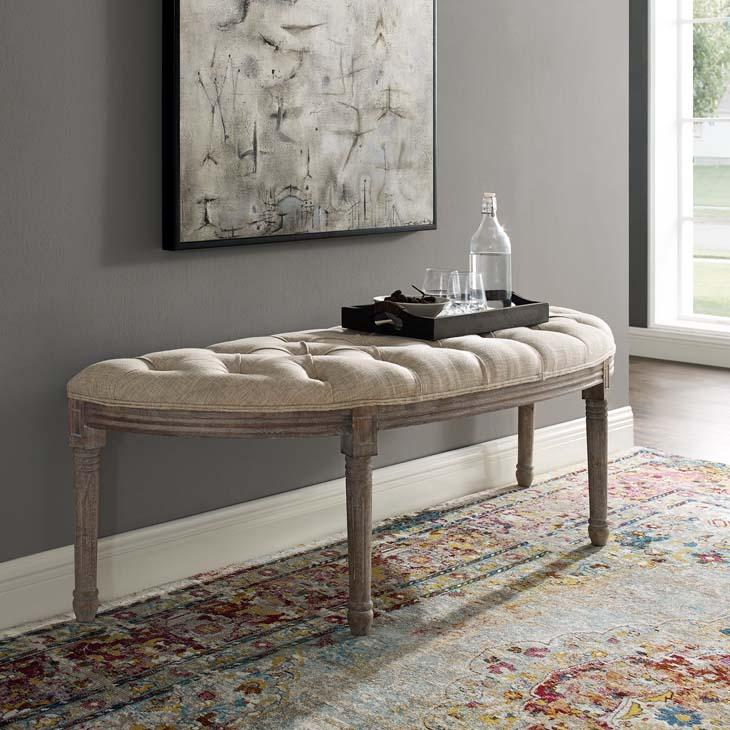 Esteem French Vintage Tufted Semi-Circle Bench in Beige