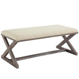 Province French Vintage X-Brace Fabric Bench in Beige
