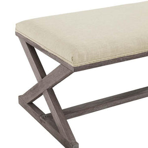 Province French Vintage X-Brace Fabric Bench - taylor ray decor