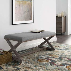 Province French Vintage X-Brace Fabric Bench in Light Gray