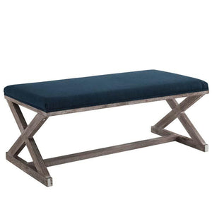 Province French Vintage X-Brace Fabric Bench in Navy