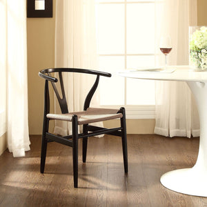 Amish Wood Dining Armchair in Black