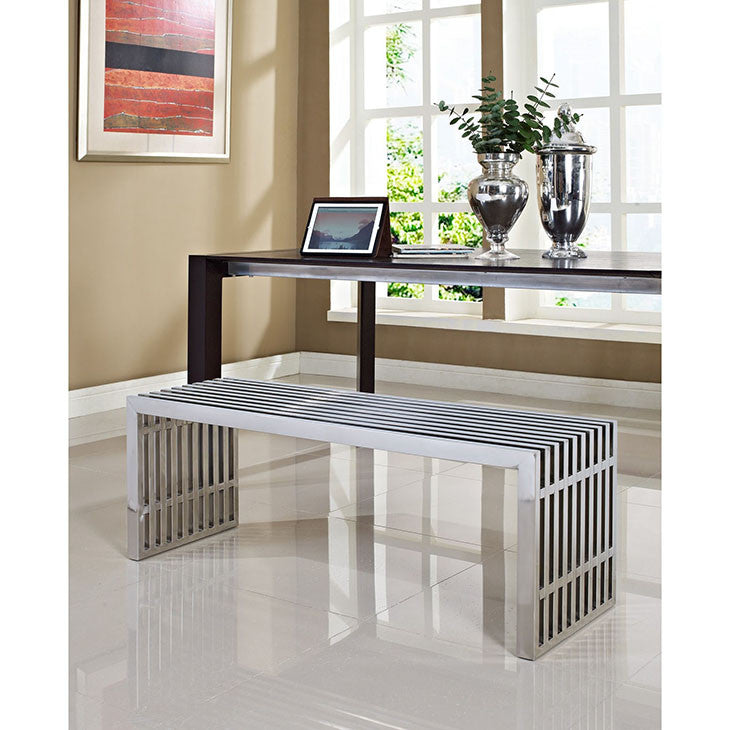 Gridiron Large Stainless Steel Bench - taylor ray decor