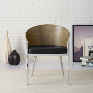 Cooper Dining Wood Armchair in Walnut/Silver