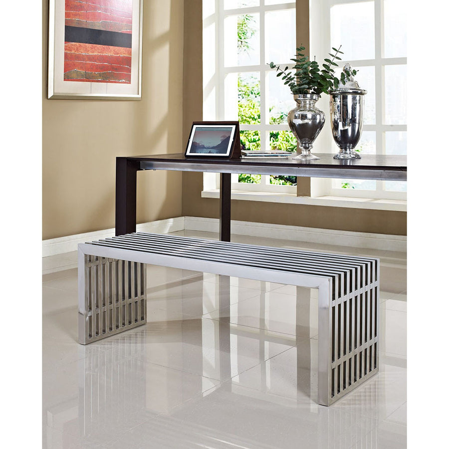 Gridiron Medium Stainless Steel Bench - taylor ray decor