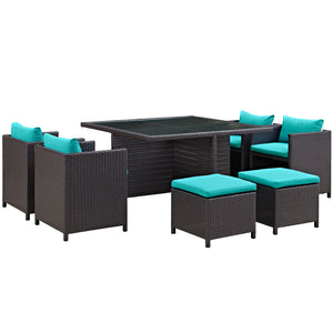 Inverse 9 Piece Outdoor Patio Dining Set in Turquoise