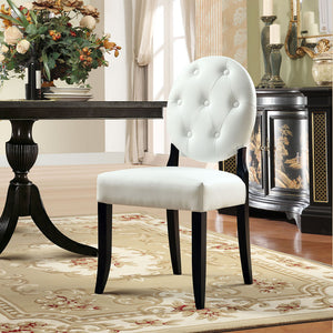 Button Vinyl Dining Side Chair
