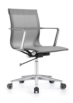Joan Mid Back Mesh Chair in Gray
