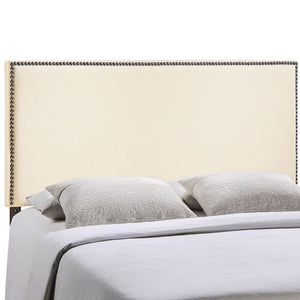 Region Full Nailhead Upholstered Headboard in Ivory